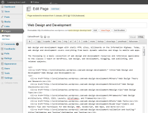 WordPress HTML Editor example of a Page