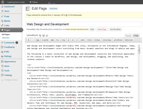 WordPress Text editor example of a Page