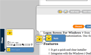 Layers is a tool that allows you to have a conversation on a web page with annotations and image shows the conversation and graphics.