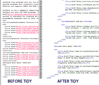 Example of Tidy HTML cleaner before and after