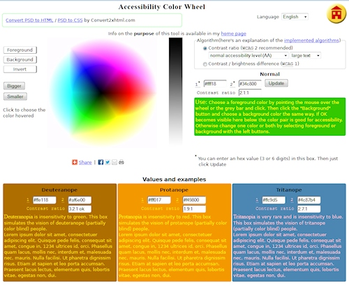 Web Accessibility Color Wheel compares font colors with background colors.