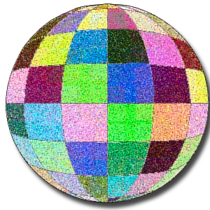Colored ball in a quilt of colors.