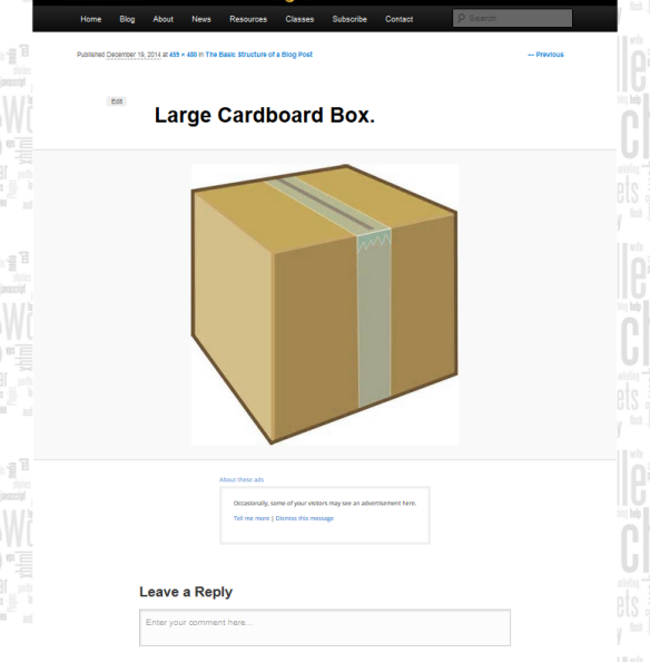 Example of an image in an Attachment Page in WordPress with post title, image, design, and comments around it.