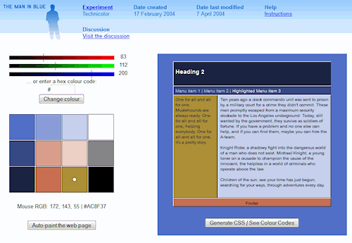 Man in Blue Website color palette example of a website layout with colors.
