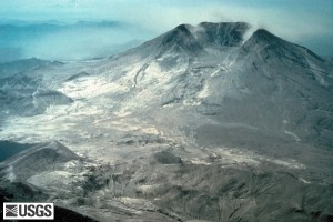 Mount St. Helens after volcanic explosion 1980, US Government NSGS.
