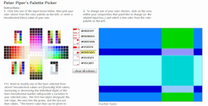 Pter Piper Palette Picker example of colors within a website layout.