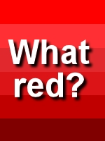 Text that asks what red with variations of red colors behind it.