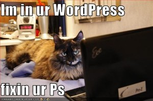 Cat next to computer saying I am in ur WordPres fixin ur Ps.