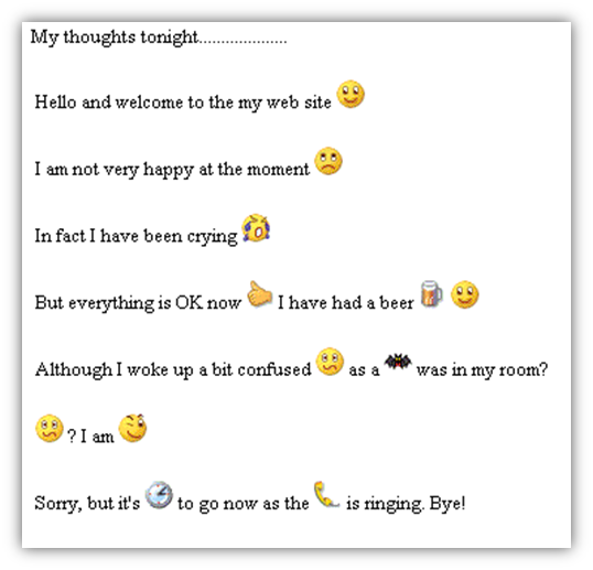 Example of a blog post written with too many smilies or emoticons making it hard to read.