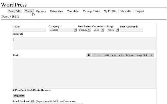 WordPress 0.71 Interface courtesy of Ozh Richard.