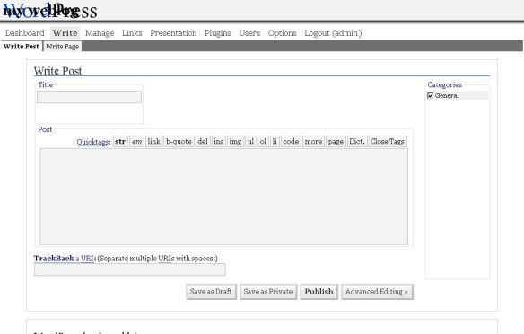 WordPress 1.5  Post interface - courtesy Ozh Richard.