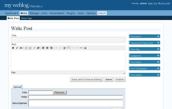 WordPress 2.0 interface - courtesy Richard Ozh.