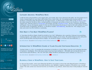 Example of the Category Pageview in WordPress with text from the Category Description.
