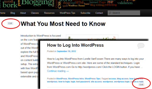 Example of two places on a WordPress Theme where an Edit Link is commonly displayed.