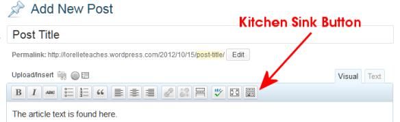 The WordPress Visual Editor Toolbar featuring the Kitchen Sink Button which expands to feature a second row.
