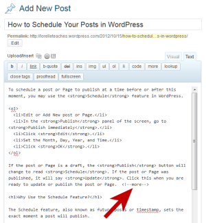 Example of the more or excerpt feature on the WordPress Text or HTML editor.