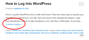 Example of a WordPress Post Excerpt shown on multiple post pageviews with the continue reading or more link highlighted.