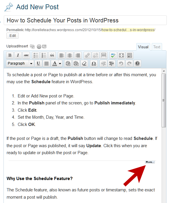 Example of the More and Excerpt Feature with the WordPress Visual Editor.