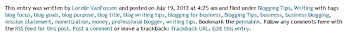 Example of the post meta data section on a WordPress site.