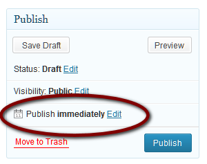 Example of the Publish Immediate, future or schedule post feature of WordPress.