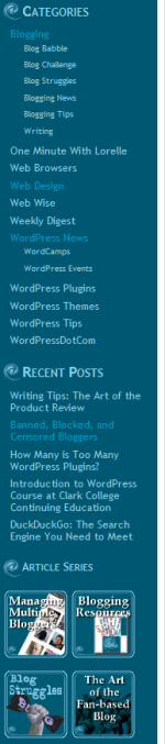 Example of a sidebar with WordPress Widgets.