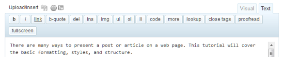 WordPress Text or HTML editor toolbar.