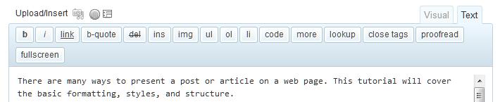 WordPress Text or HTML editor toolbar.