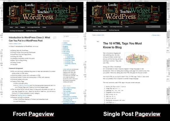 The 2011 WordPress Theme front and single post pageviews. Notice the front page has a sidebar and the single post does not.
