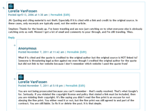Example of threaded comments on a WordPress Post.