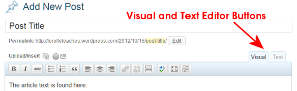 The WordPress Editors - Visual and Text or HTML Editor buttons.
