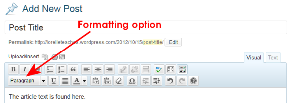 WordPress Visual Editor Toolbar featuring the formatting option button.