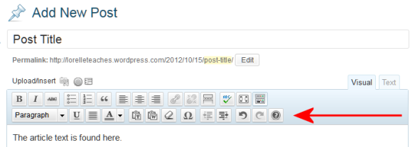 WordPress Visual Editor Toolbar featuring the second row with the formatting options.