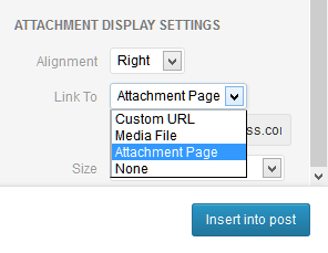 WordPress Media Uploader showing example of choosing the link to options.
