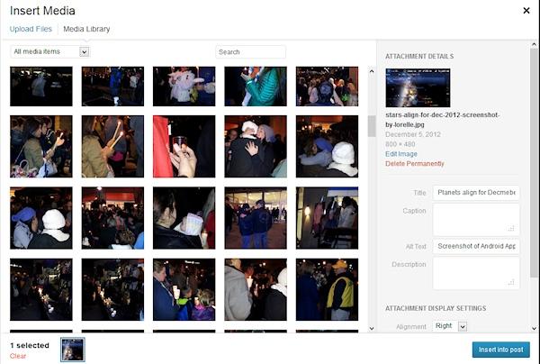WordPress Media Uploader featuring multiple images - screencap by Lorelle VanFossen.