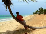 male leaning on palm tree on beach