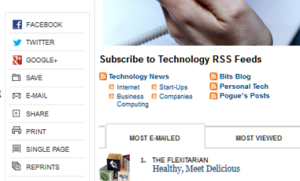 New York Times example of subscription icons on their articles.