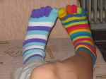 socks knitted colorful stripes on feet