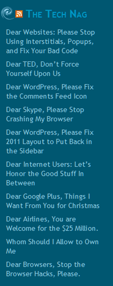 Example of a site in a WordPress RSS Widget in the sidebar.