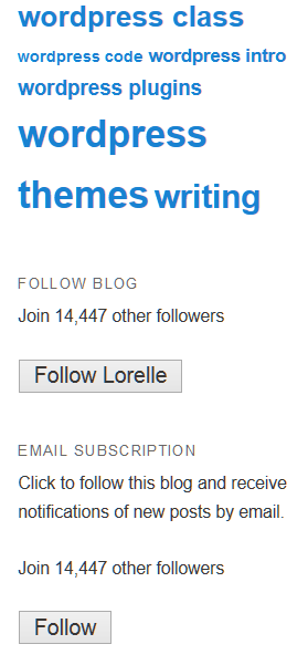 Example of the Follow Blog and Follow by Email Widgets in WordPress.com when the user is not logged in.