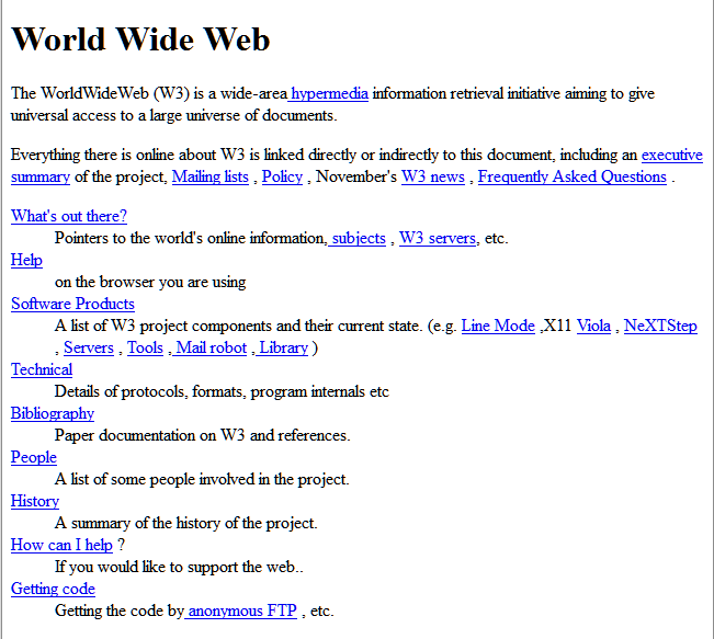 First Website in the world on the web by Tim Berners-Lee and CERN team - front page.