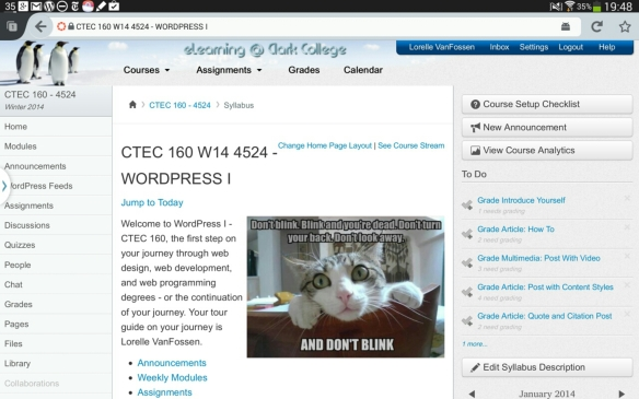 Screen capture of WordPress I course at Clark College on Canvas with the browser view on a tablet.