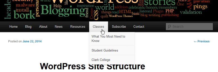 Site Structure and Organization - Page Menu Navigation and dropdown menus - Lorelle VanFossen,