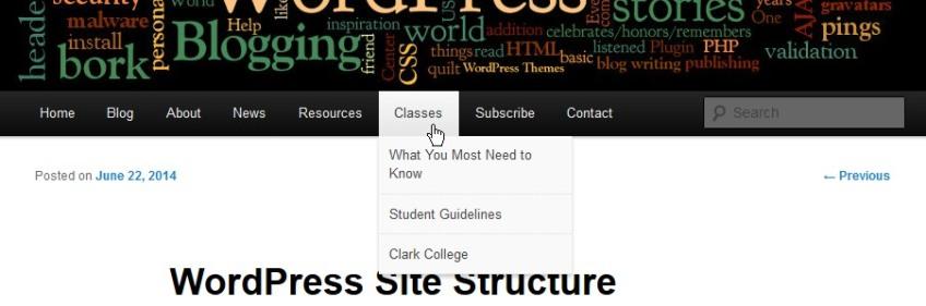 Site Structure and Organization - Page Menu Navigation and dropdown menus - Lorelle VanFossen,