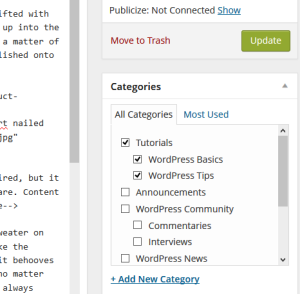 Add categories to WordPress via the Edit Post > Categories module.