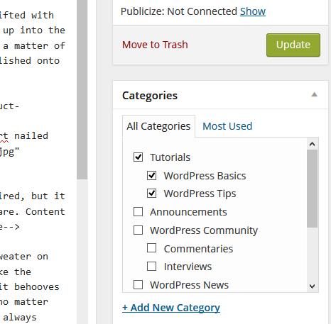 Add categories to WordPress via the Edit Post > Categories module.