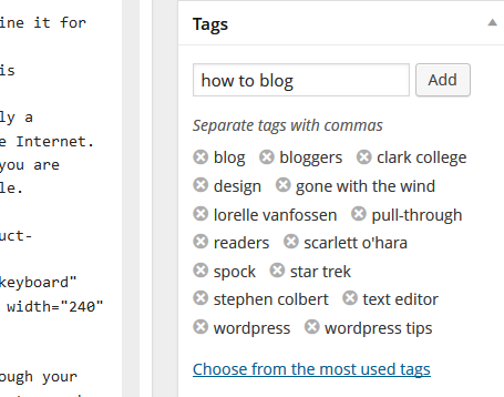 The Tags module in the Edit Post Admin Screen on WordPress.