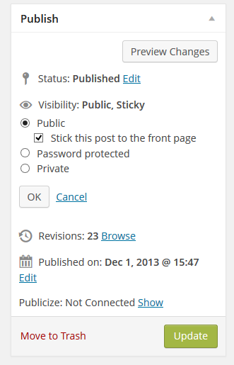 WordPress Administration Screen for Editing a Post > The Publish Module.
